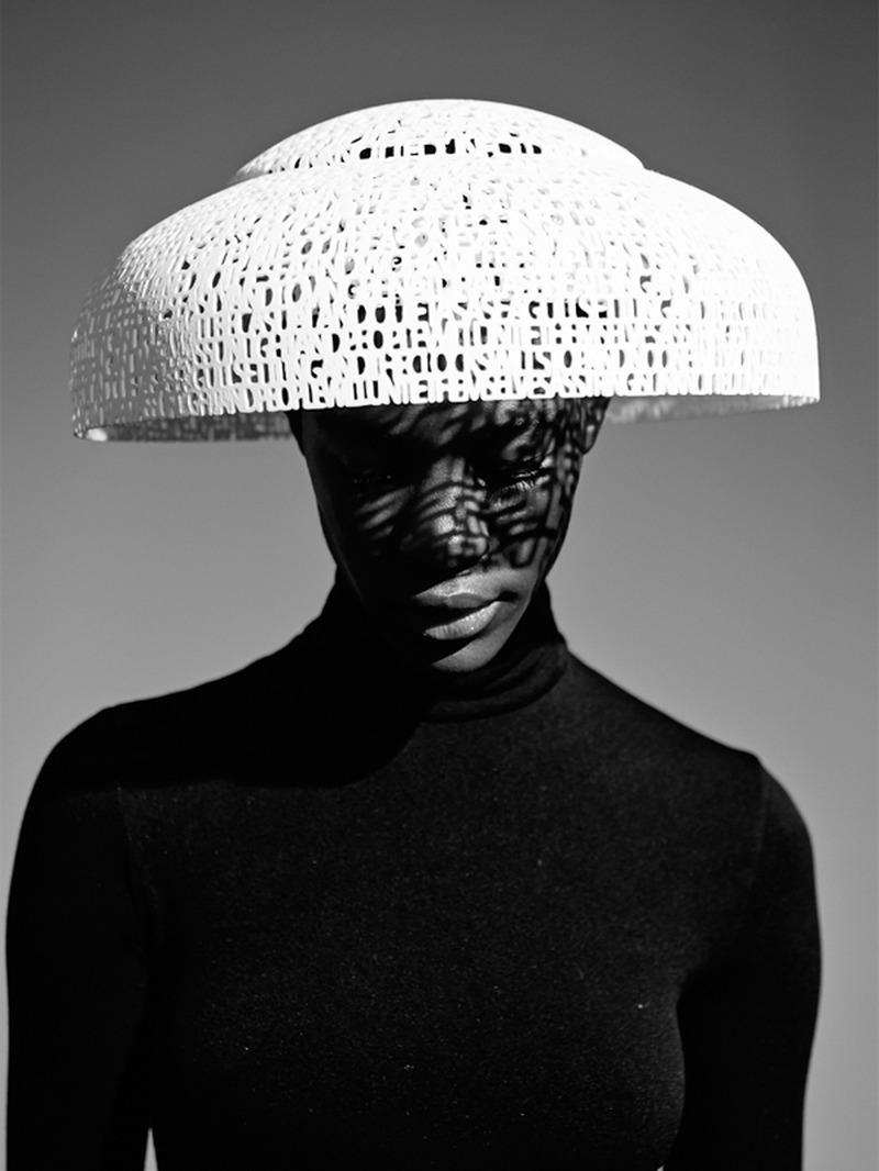 Gabriela Ligenza exposing 3D printed hat