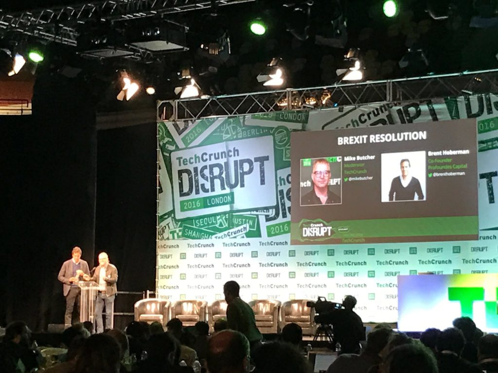 Brexit Resolution presented at TechCrunch London 2016 | Photo Credit:Tom Butterworth (@TechBanker)