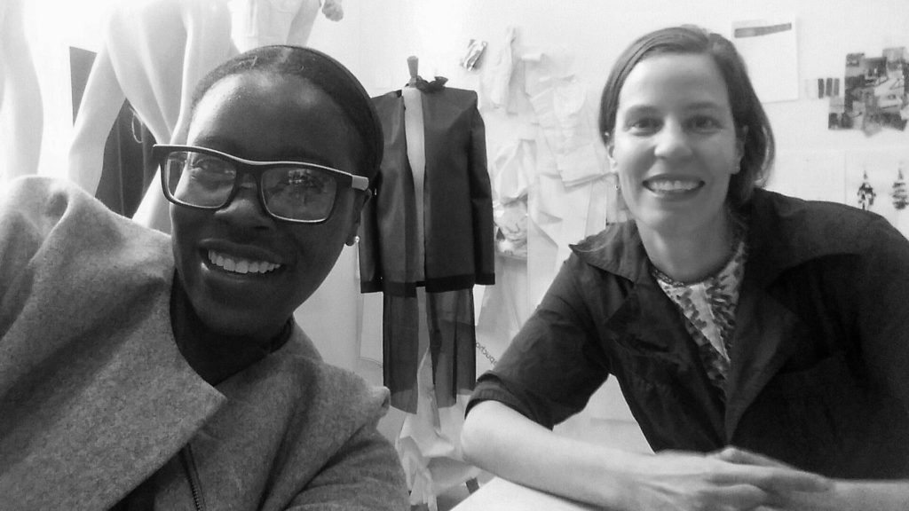 FashNerd founder Muchaneta with Marina Toeters in her studio in Utrecht