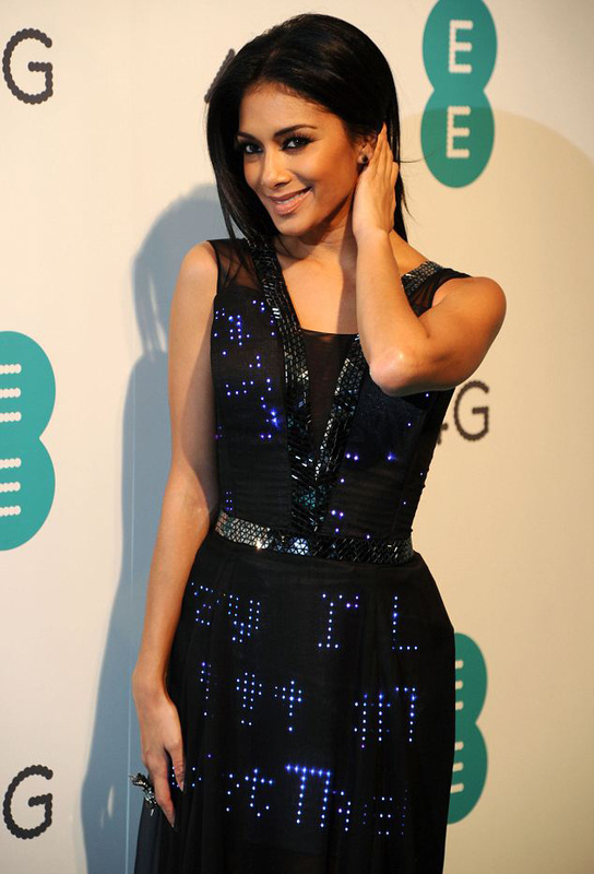 Nicole Scherzinger haute couture digital dress, designed by interactive fashion agency Cute Circuit,