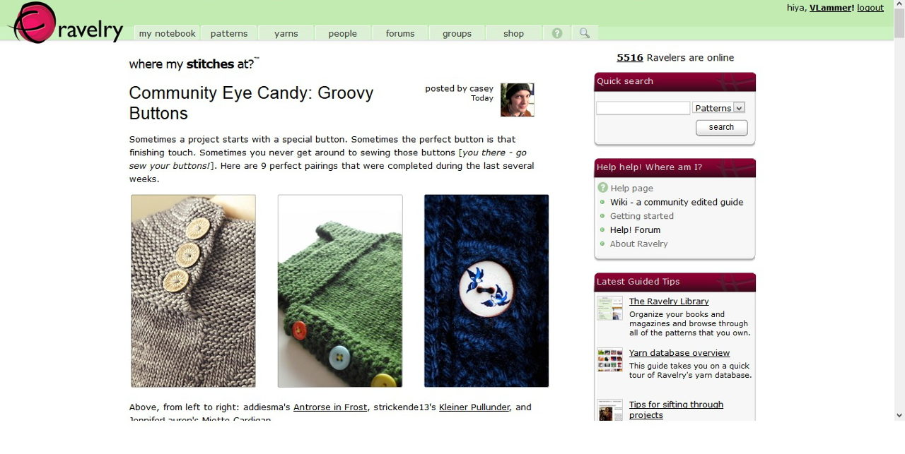 Ravelry is a community for people who knit and crochet